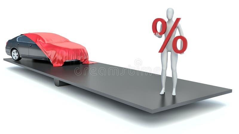 homem 3d com um sinal e um carro de por cento ilustração royalty free