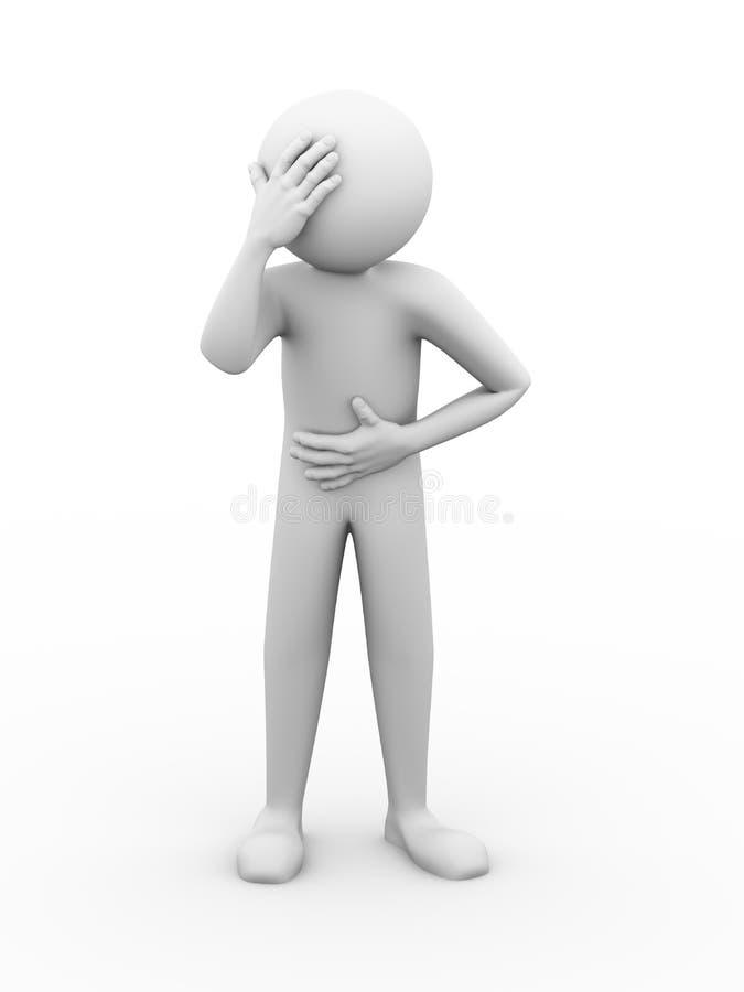 homem 3d doente que tem a ilustração da dor ilustração stock