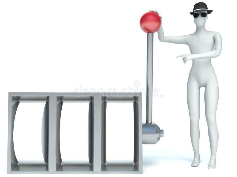 homem 3d e slot machine ilustração do vetor