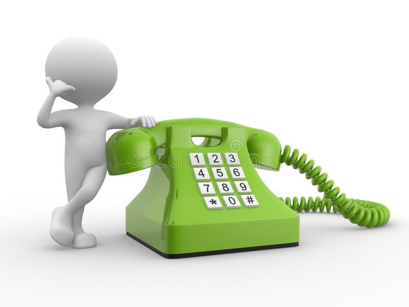 homem 3d e telefone. ilustração royalty free