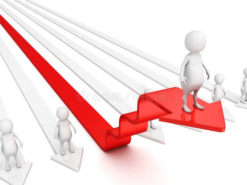 homem 3d em etapas vermelhas da seta do sucesso ilustração royalty free
