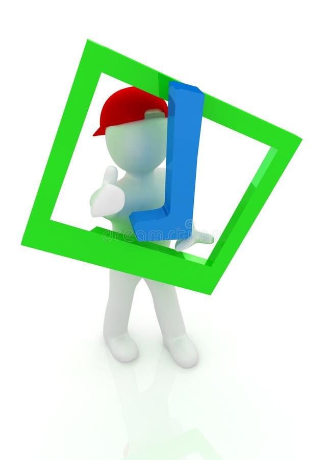 homem 3d em um tampão repicado vermelho com polegar acima e um tiquetaque enorme ilustração do vetor