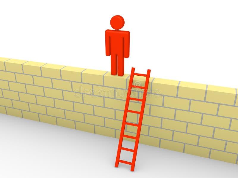 homem 3d escalado na parede de tijolo ilustração stock