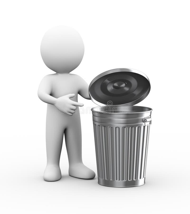 homem 3d que aponta ao escaninho do balde do lixo ilustração do vetor