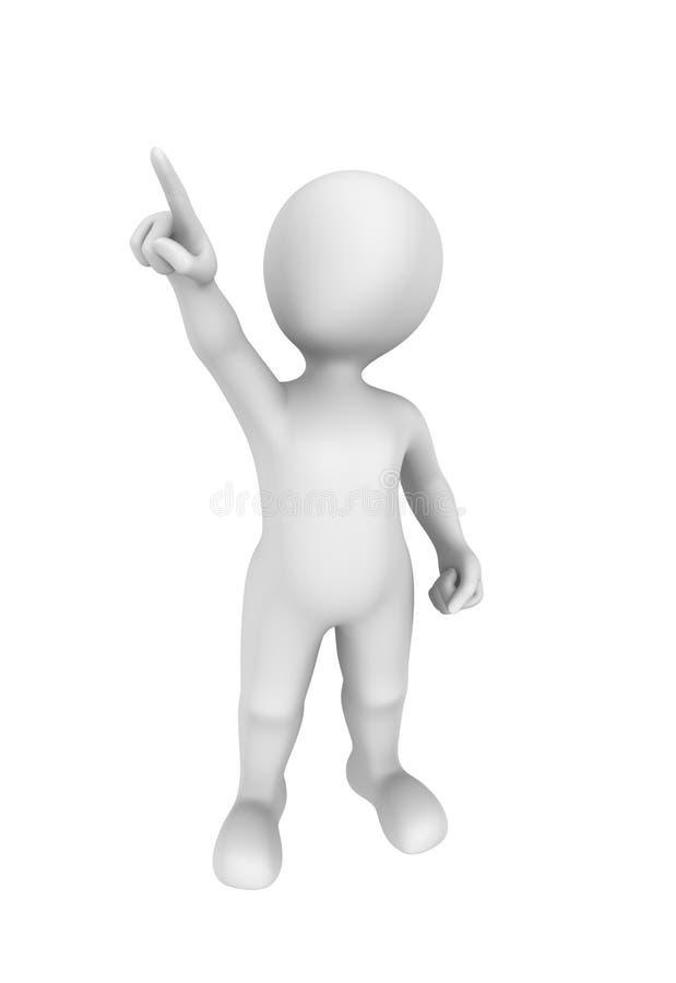homem 3d que aponta o dedo acima ilustração 3D ilustração do vetor