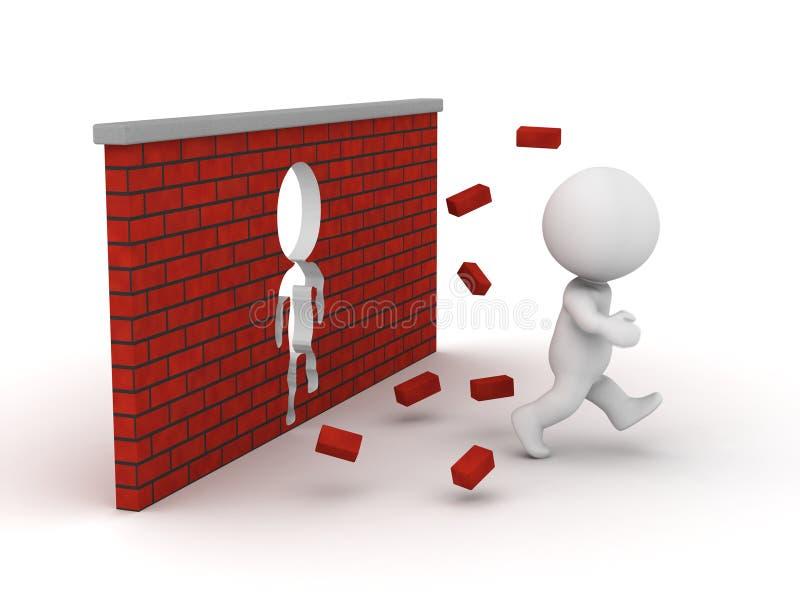 homem 3D que corre através de uma parede de tijolo ilustração do vetor