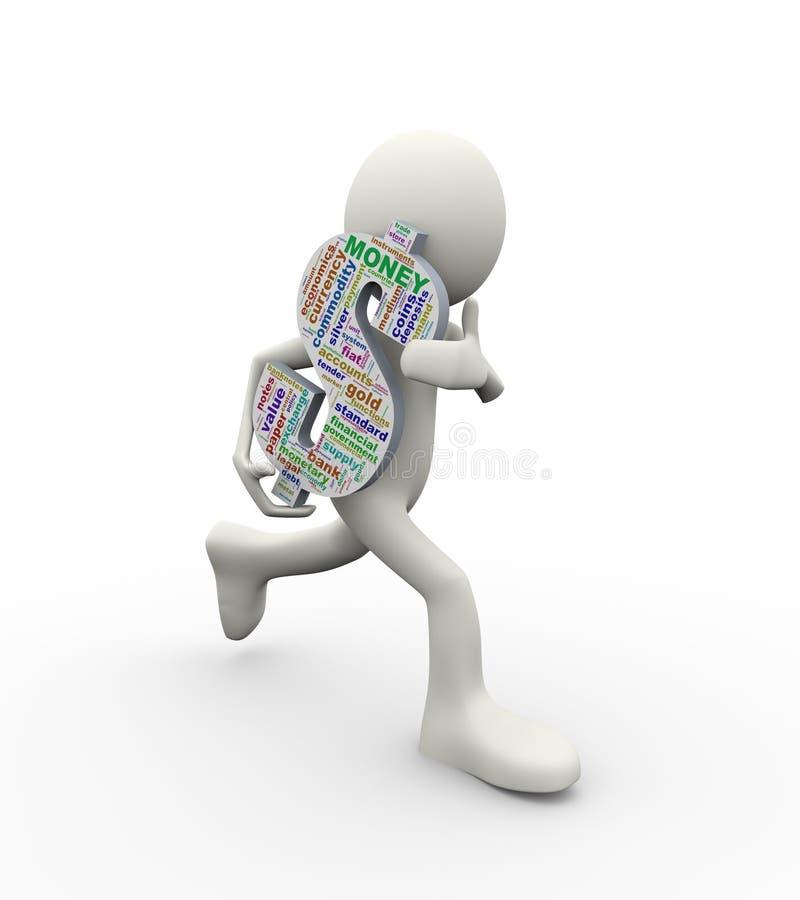 homem 3d que corre com as etiquetas do wordcloud do símbolo do sinal de dólar ilustração royalty free