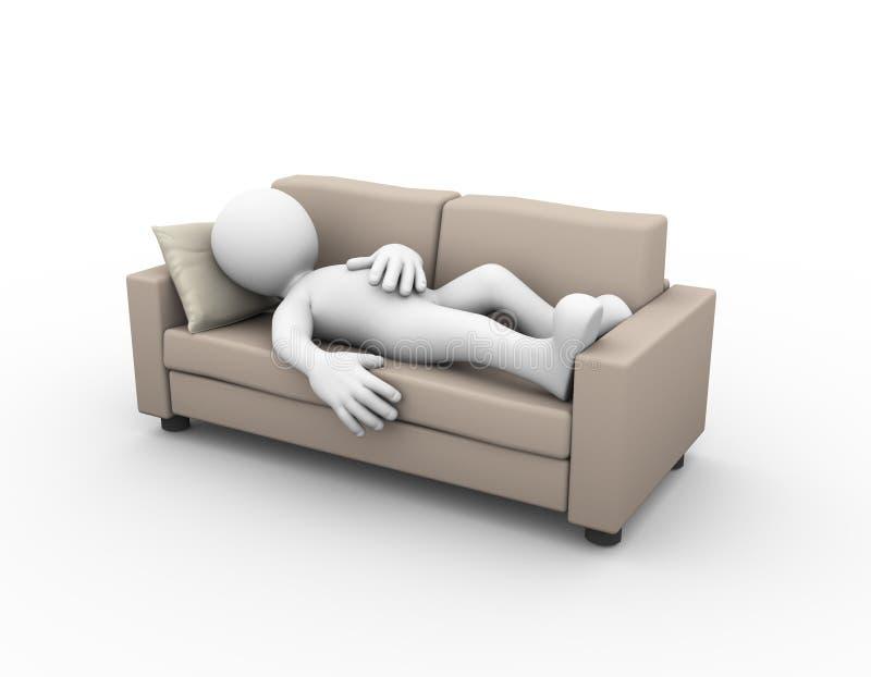 homem 3d que dorme no sofá ilustração do vetor