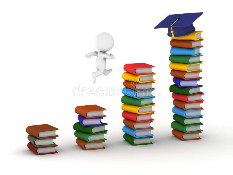 homem 3D que estuda o conceito com livros e tampão da graduação ilustração stock