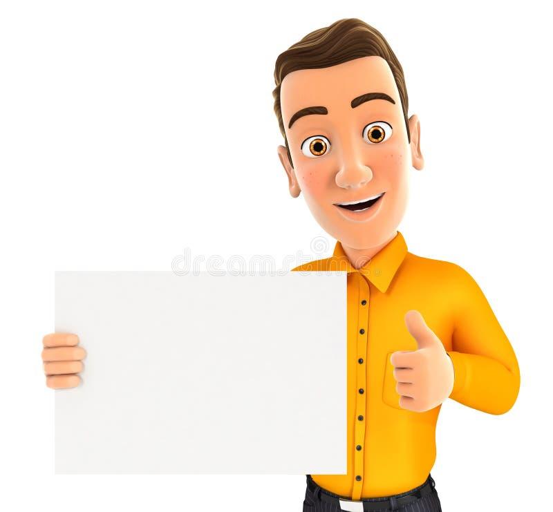 homem 3d que guarda o cartaz com polegar acima ilustração royalty free