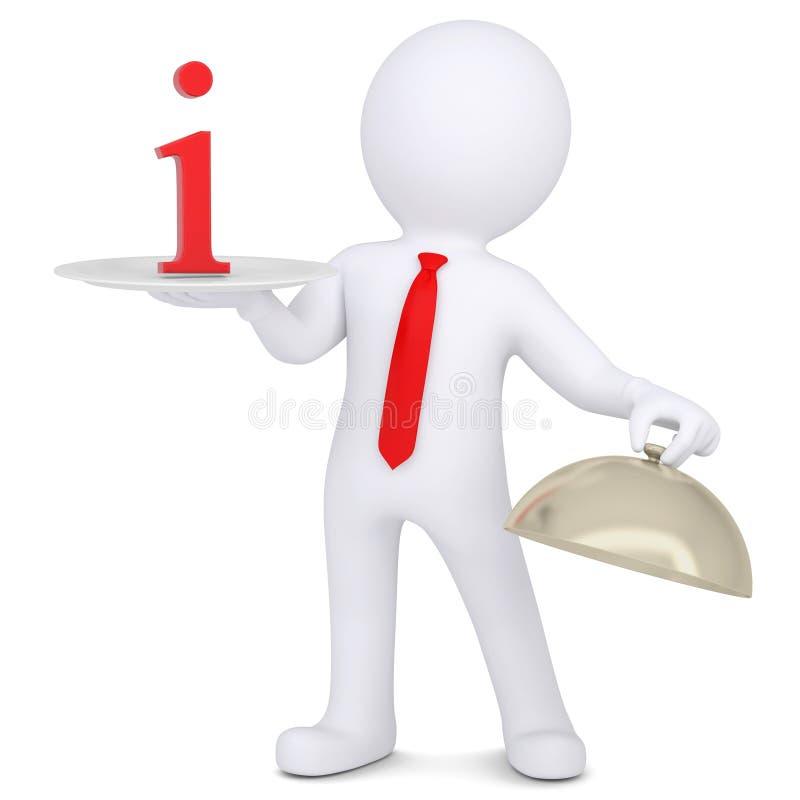 homem 3d que guardara um sinal mim no prato ilustração stock