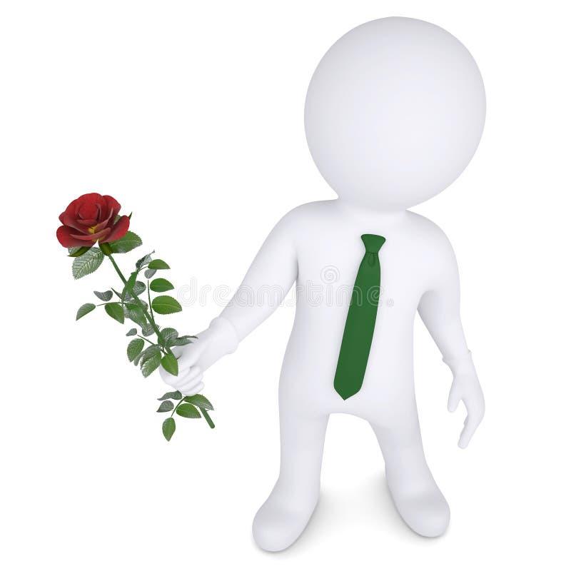 homem 3d que guardara uma rosa branca ilustração royalty free