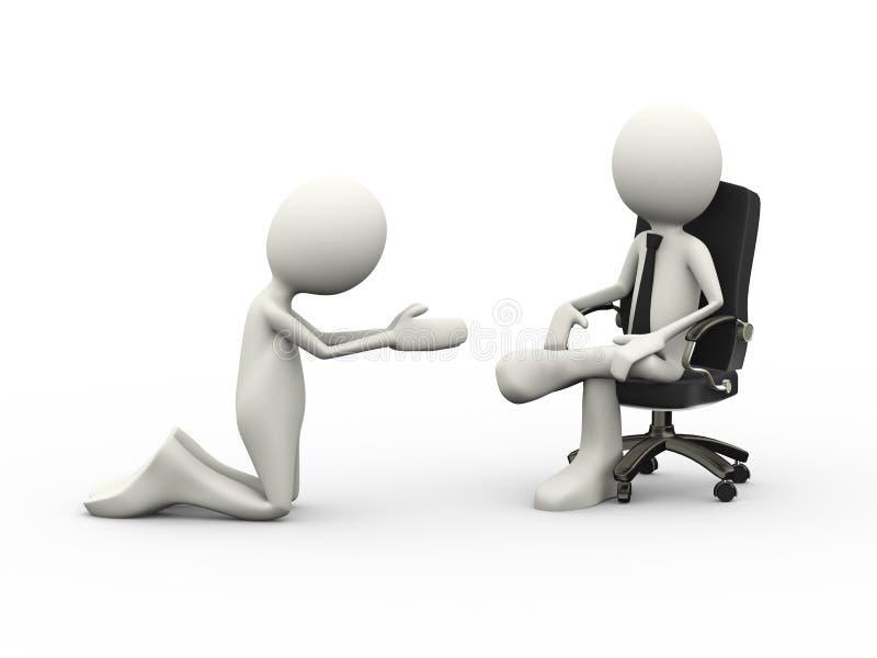 homem 3d que implora ao chefe assentado na cadeira ilustração do vetor