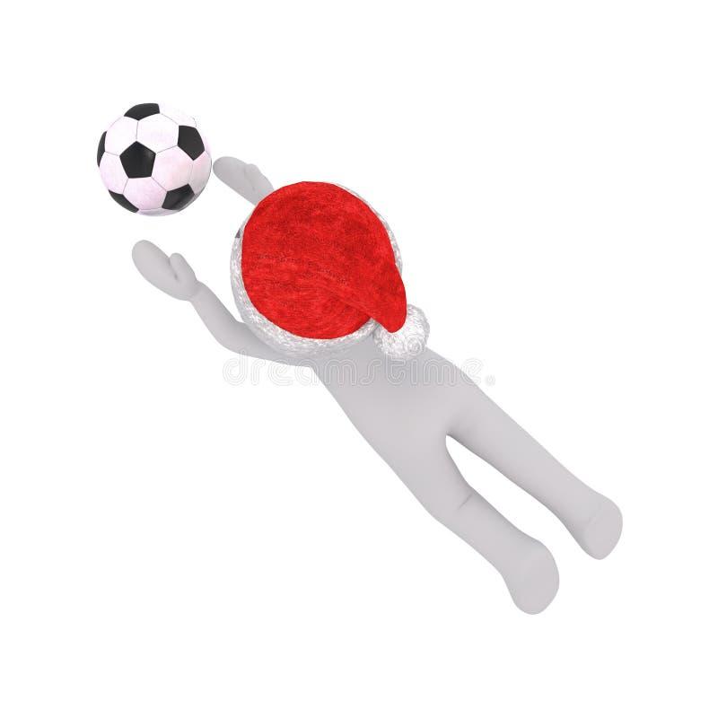 homem 3d que joga o mergulho do futebol para travar a bola ilustração do vetor
