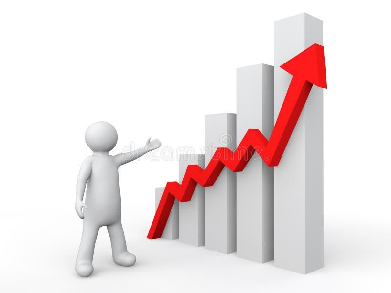 homem 3d que mostra o gráfico de lucro ilustração stock