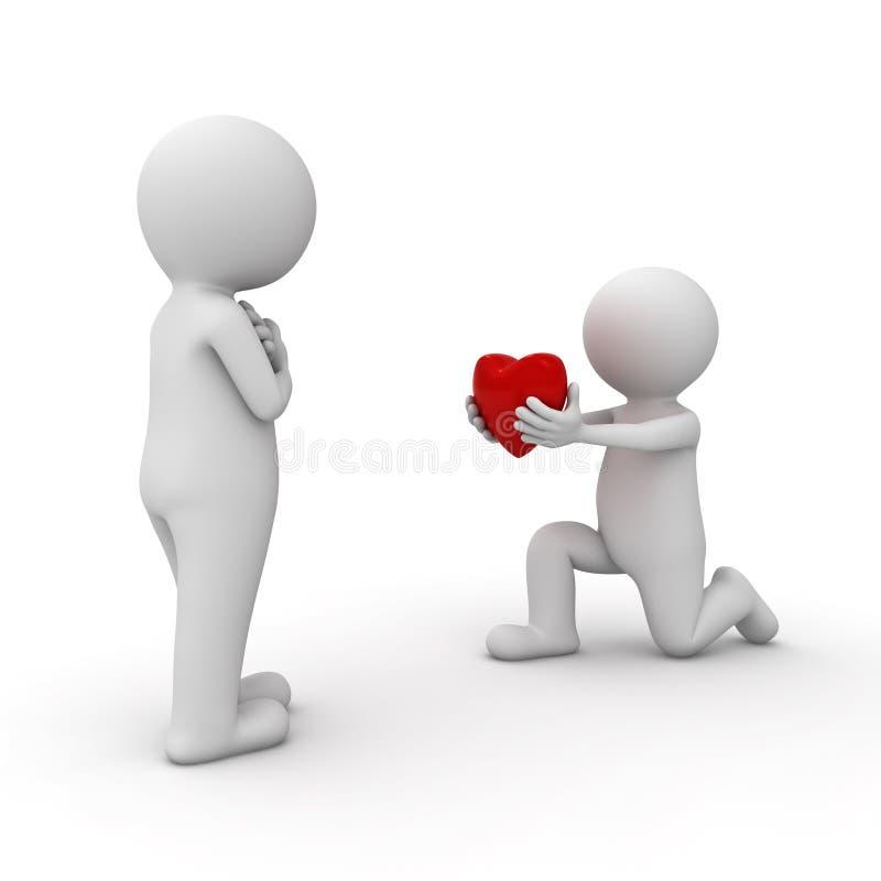 homem 3d que obtem para baixo em um joelho e que dá o coração a seu amante ilustração royalty free