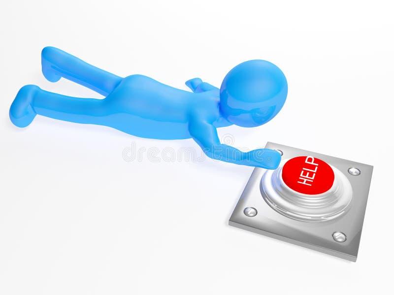 homem 3d que rasteja ao botão da ajuda ilustração royalty free