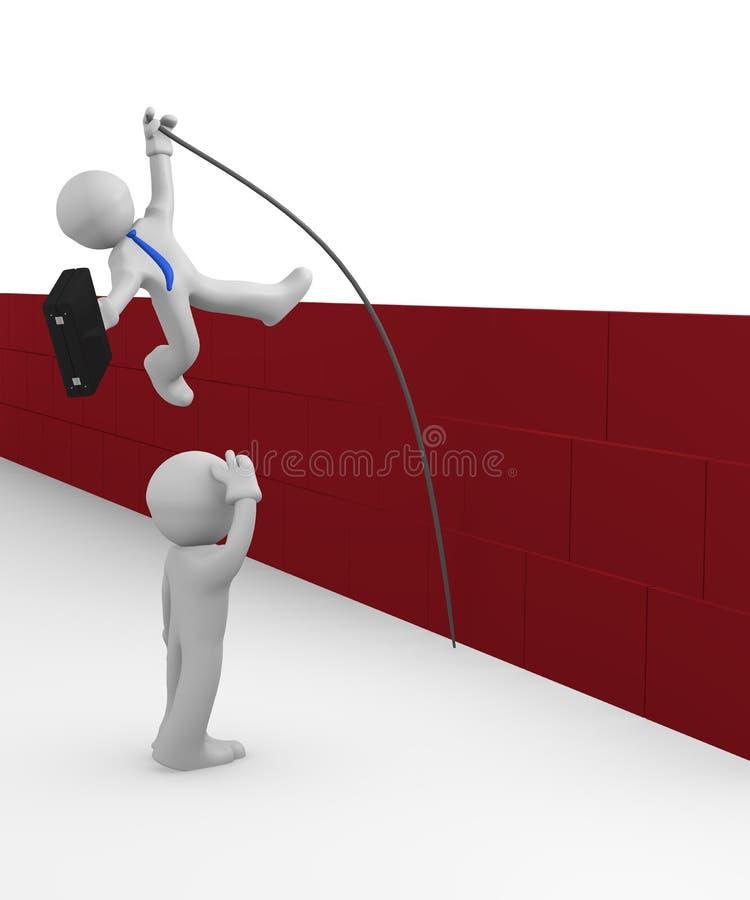 homem 3d que salta sobre o obstáculo ilustração do vetor