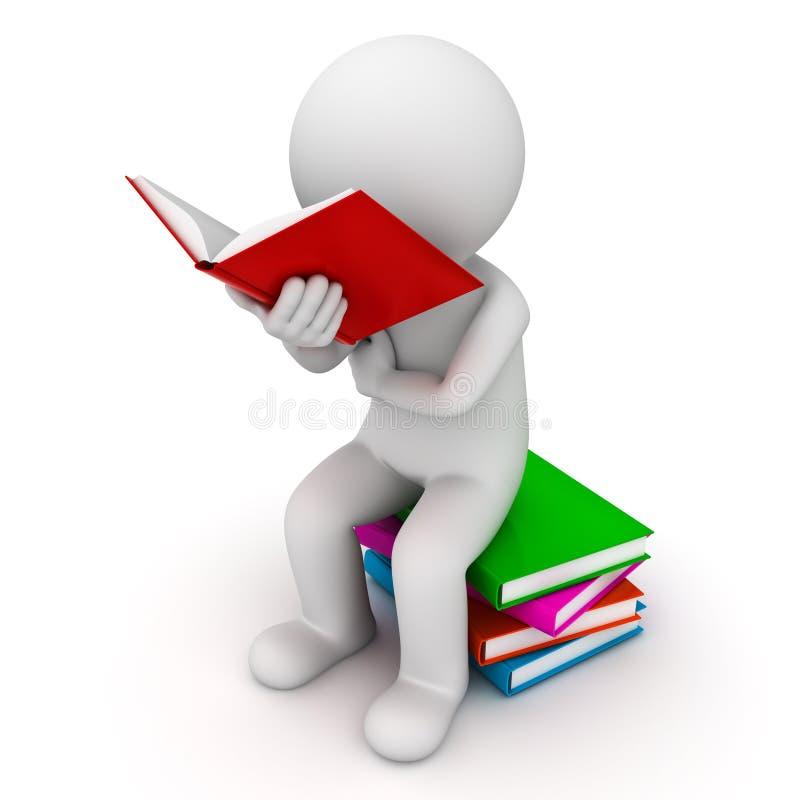 homem 3d que senta-se em uma pilha dos livros e do livro de leitura ilustração stock