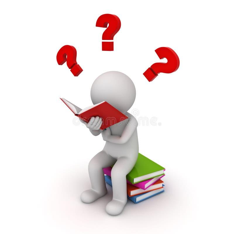 homem 3d que senta-se em uma pilha dos livros e que lê com pontos de interrogação vermelhos ilustração royalty free