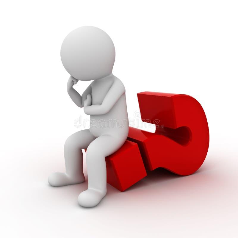 homem 3d que senta-se no ponto de interrogação grande e no pensamento vermelhos isolados sobre o fundo branco ilustração stock