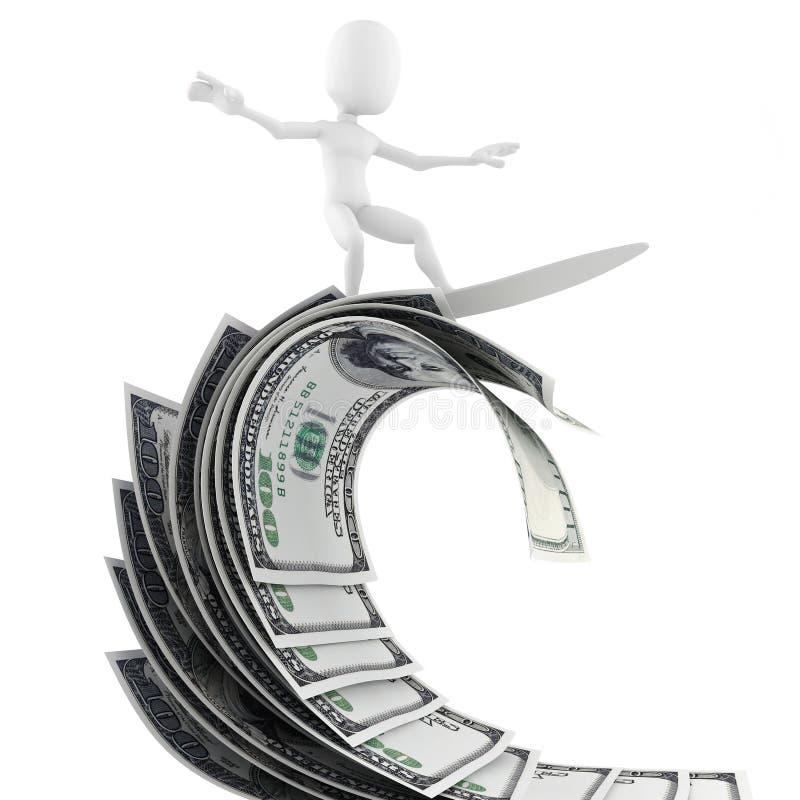 homem 3d que surfa no dinheiro ilustração do vetor