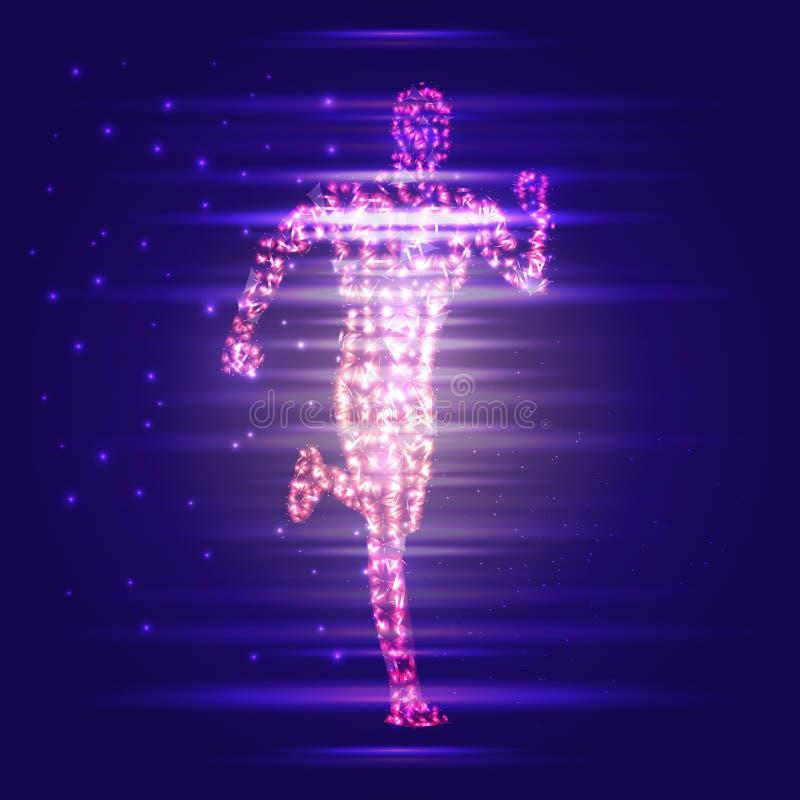 homem 3D running Projeto para o esporte, o negócio, a ciência e a tecnologia Ilustração do vetor Corpo humano ilustração royalty free