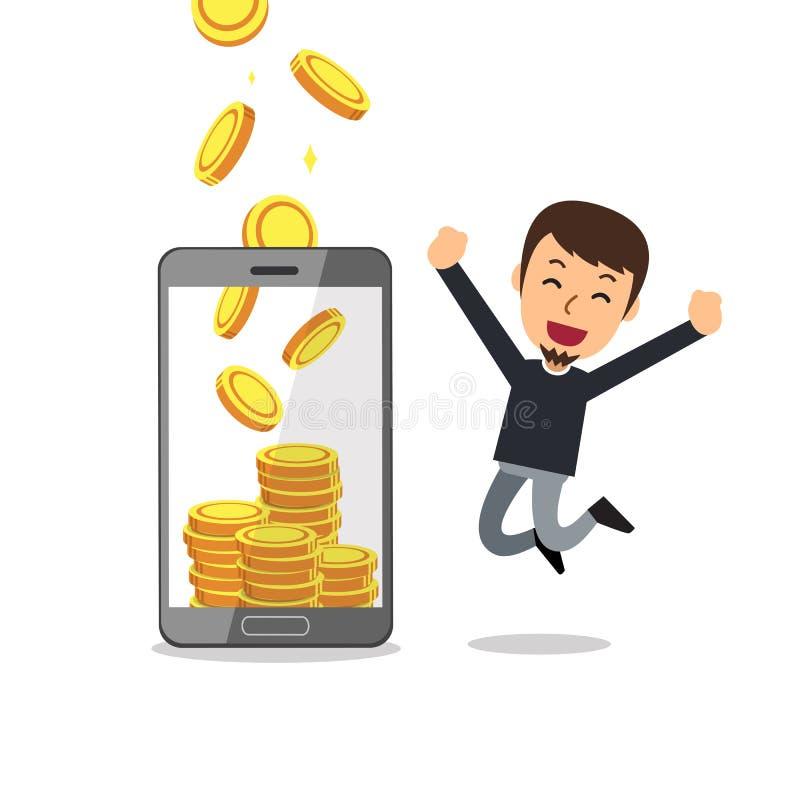 Homem da ajuda do smartphone dos desenhos animados do conceito do negócio para ganhar o dinheiro ilustração do vetor