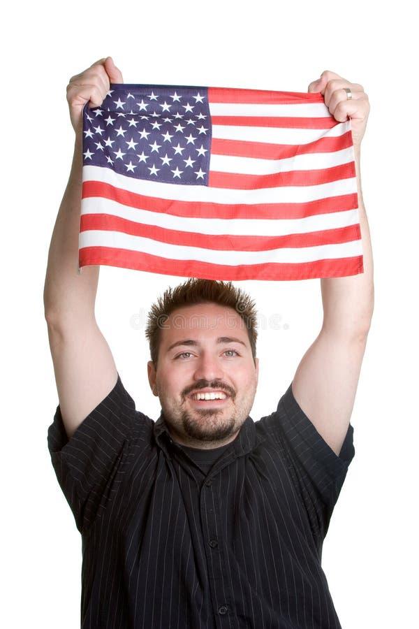 Homem da bandeira americana fotos de stock