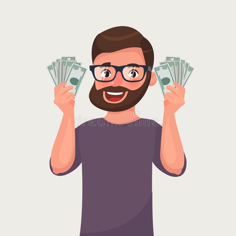Homem da barba do moderno com as cédulas do dinheiro em suas mãos Ilustração do vetor dos desenhos animados ilustração royalty free