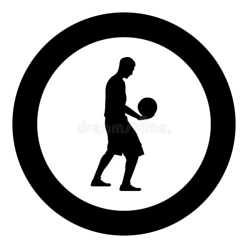 Homem da bola da terra arrendada do jogador de basquetebol que guarda a ilustração de cor do preto do ícone da silhueta do basque ilustração do vetor