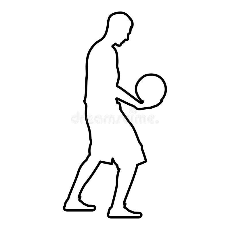 Homem da bola da terra arrendada do jogador de basquetebol que guarda o esboço da ilustração de cor do preto do ícone da silhueta ilustração do vetor