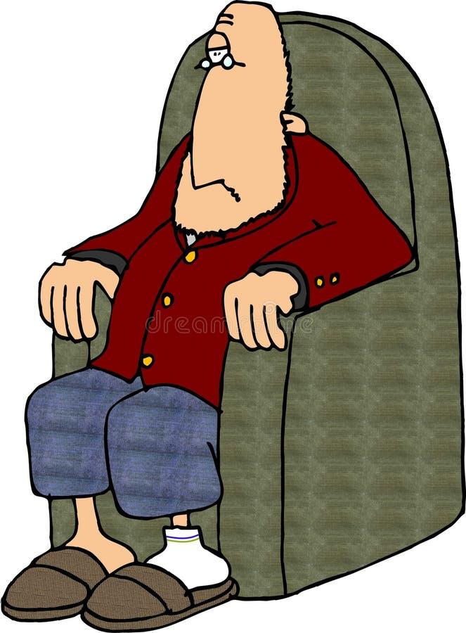 Homem da cadeira do furado ilustração stock