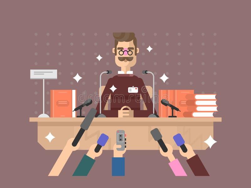 Homem da conferência de imprensa ilustração stock