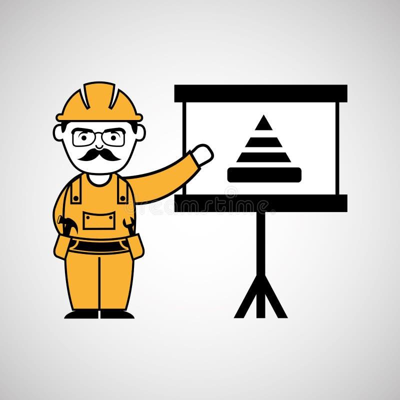 homem da construção e gráfico de advertência do cone ilustração stock