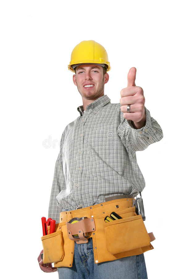 Homem da construção (foco no polegar) imagens de stock