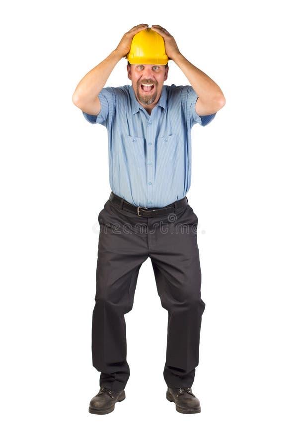 Homem da construção que toma a tampa imagem de stock