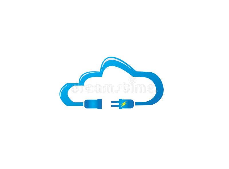 Homem da energia elétrica e fêmea na nuvem para o projeto do logotipo ilustração stock