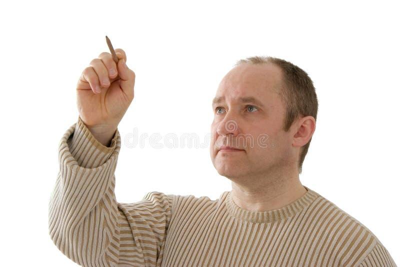 Homem da escrita foto de stock