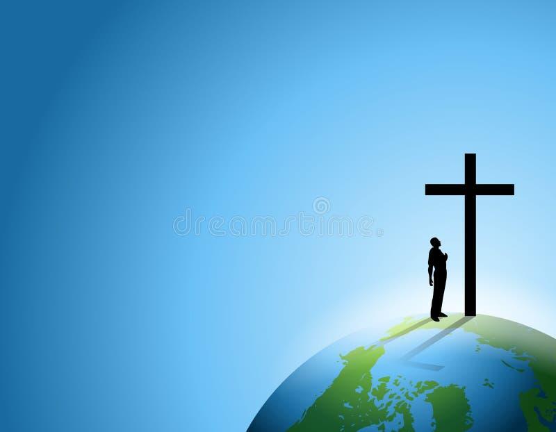 Homem da fé com cruz na terra ilustração royalty free
