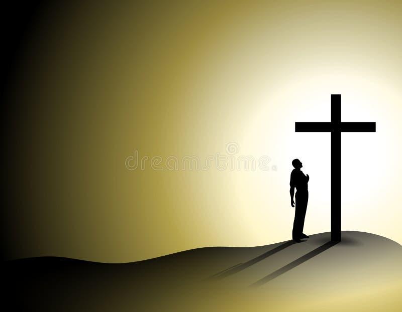 Homem da fé sozinho com cruz ilustração royalty free
