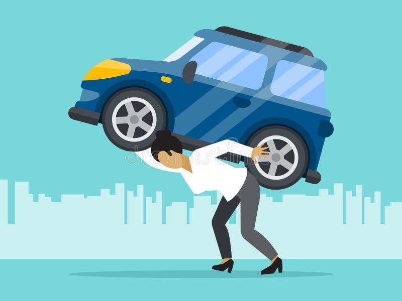 Homem da gestão da finança do conceito do risco de empréstimo com o carro na ilustração do vetor do saco Gerente financeiro da pe ilustração royalty free