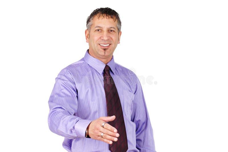 Homem da Idade Média que quer agitar as mãos foto de stock