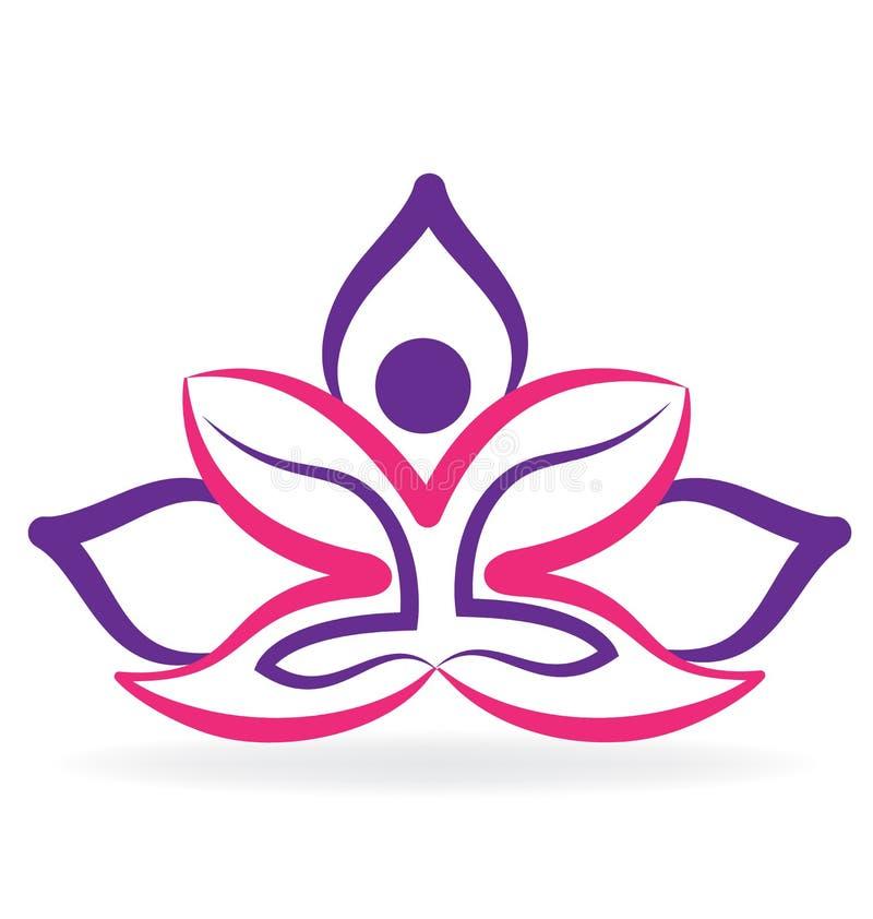 Homem da ioga com logotipo da flor de lótus ilustração do vetor