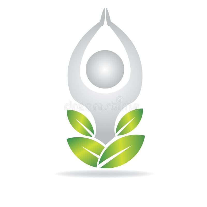 Homem da ioga do logotipo e vetor verde das folhas ilustração do vetor