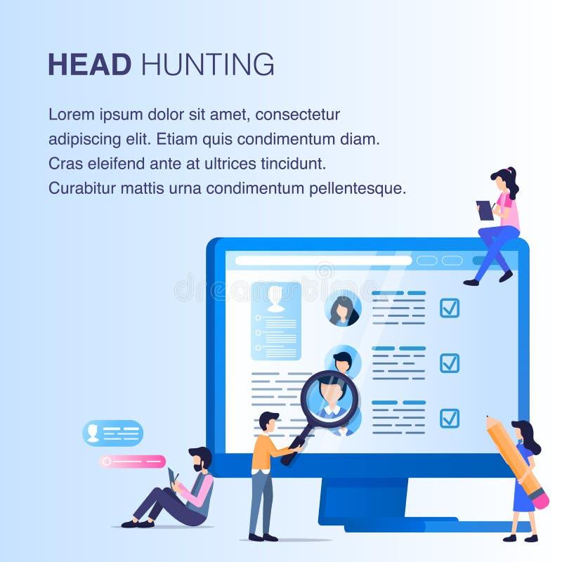 Homem da lente de aumento para fazer a caça da cabeça da pesquisa do empregado ilustração stock