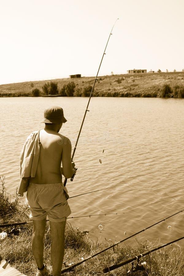 Homem da pesca fotografia de stock royalty free