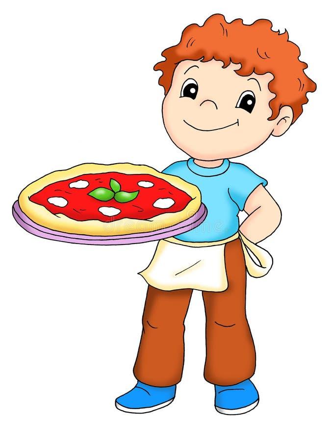 Homem da pizza ilustração royalty free