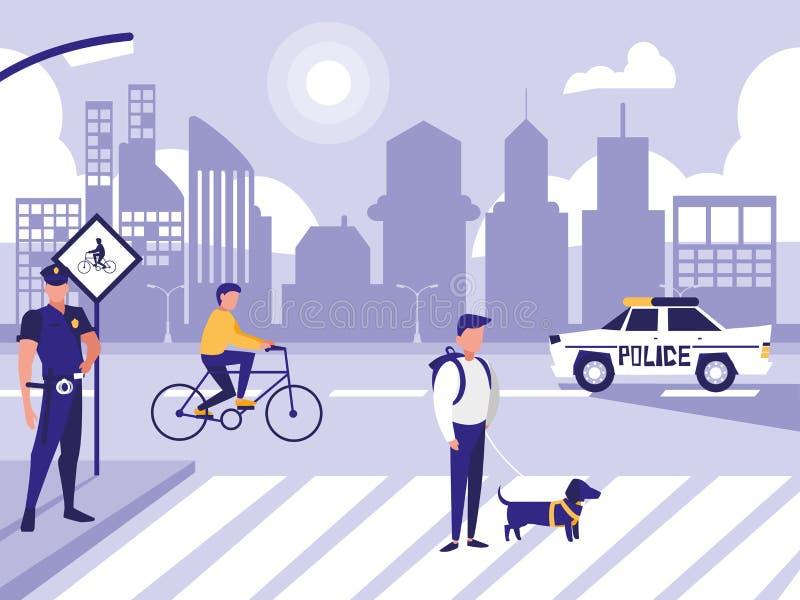 Homem da polícia com carro e povos na rua da estrada ilustração stock