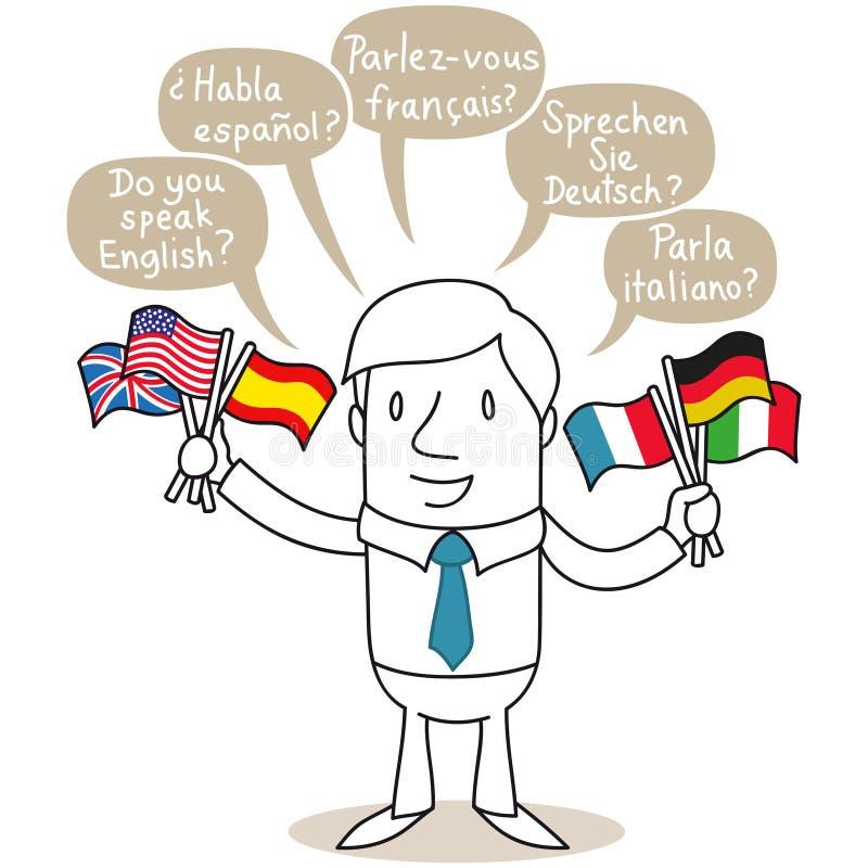Homem da poliglota que fala em línguas diferentes ilustração do vetor